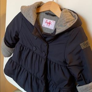 Il Gufo Navy Puffer Jacket with Gray Lining, 2